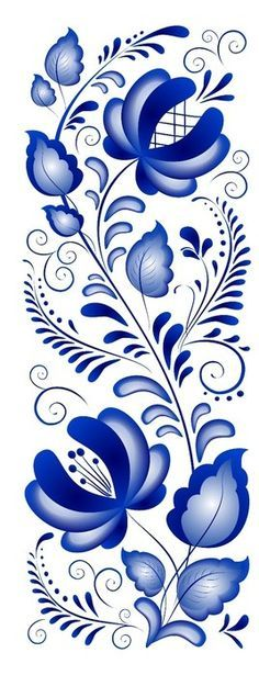 Folk Gzhel painting from Russia. A floral pattern. jwt More