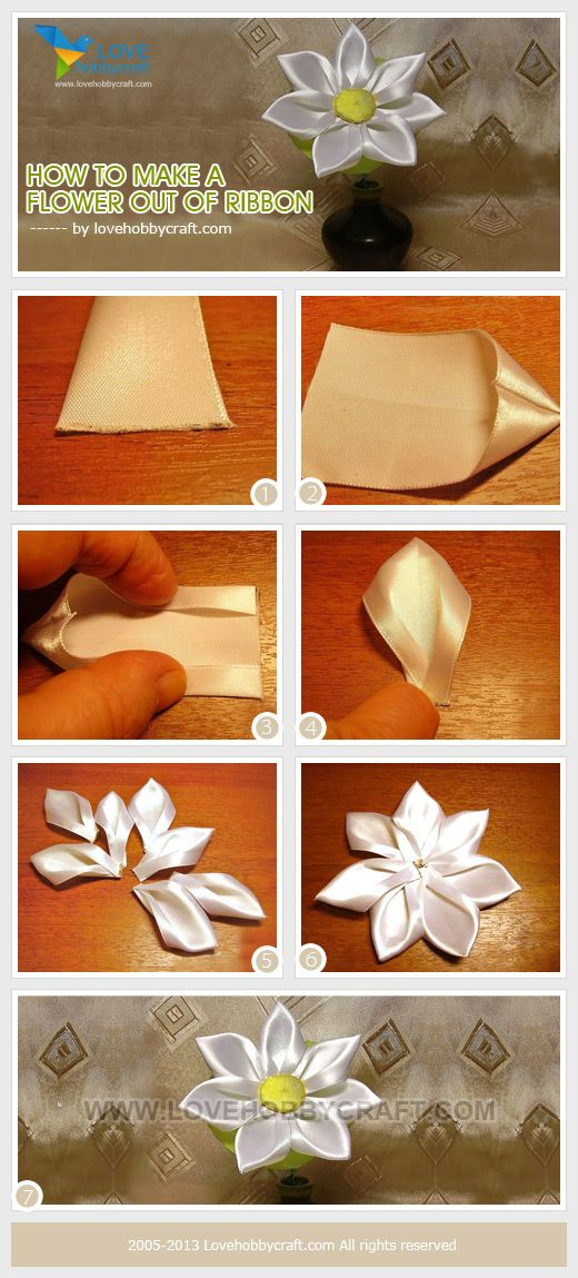How to make a flower out of ribbon. Finally something I can do with all that red ribbon I have.