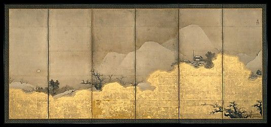 Scenes from the Eight Views of the Xiao and Xiang Rivers  Unkoku Tôeki  (1591–1644)  Period: Edo period (1615–1868) Date: 17th century Culture: Japan Medium: Pair of six-panel screens; ink and gold on paper
