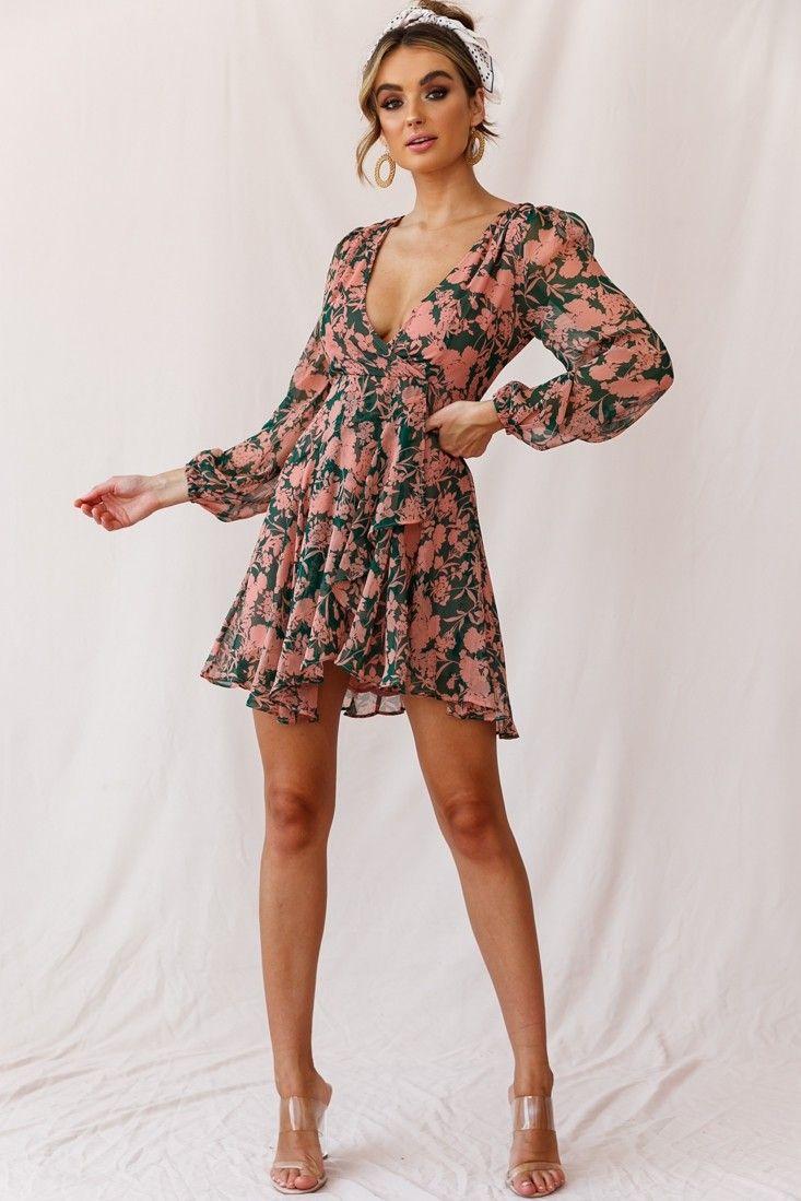 Buy The Wisteria Lane Long Sleeve Tea Dress Forest Green Selfie Leslie Casual Dress Outfits Tea Dress Skater Dress Summer