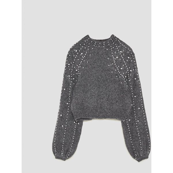CROPPED SWEATER WITH FAUX PEARLS - TRENDING NOW-WOMAN | ZARA United... (€50) via Polyvore featuring tops, sweaters, pearl, cut-out crop tops, crop tops and cropped sweaters