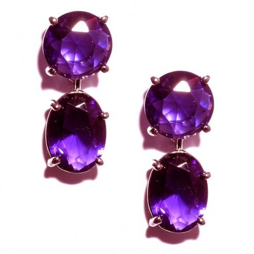 Butler and Wilson Pewter Amethyst Crystal Earrings at aquaruby.com