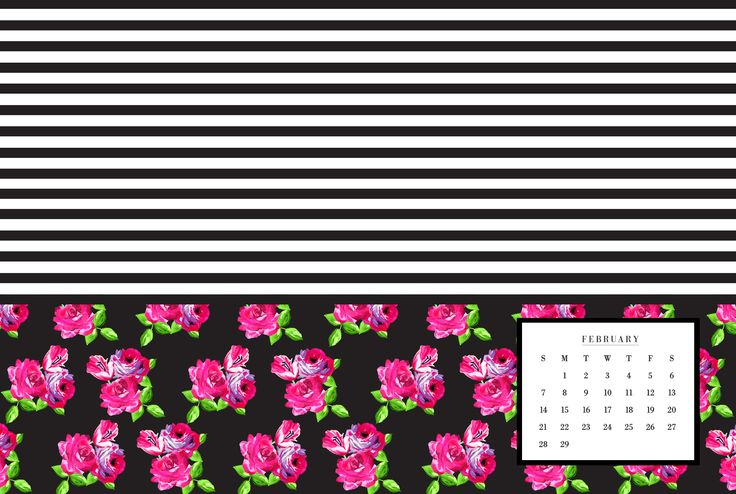 Calendar Wallpaper Mac : February floral and stripes phone desktop background