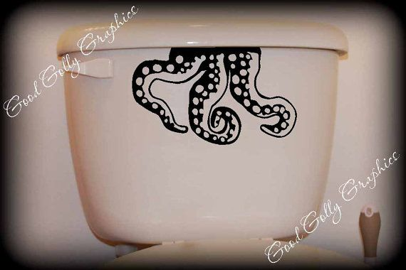 Who doesn't think an octopus is going to crawl out of their toilet? I want this decal!
