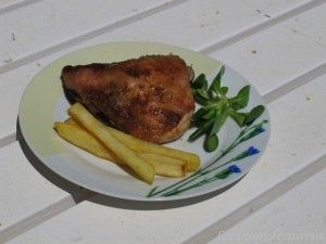 Contramuslo de pollo asado en el horno solar