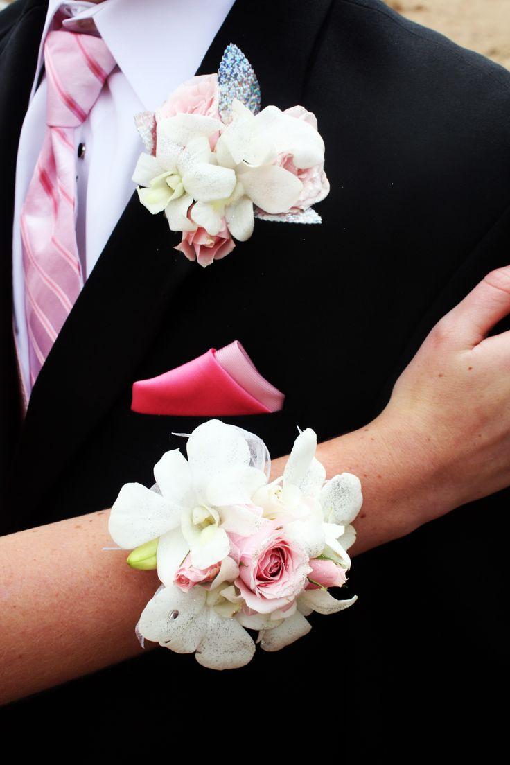 Prom BLING Wrist Corsage & matching Boutonniere White ...