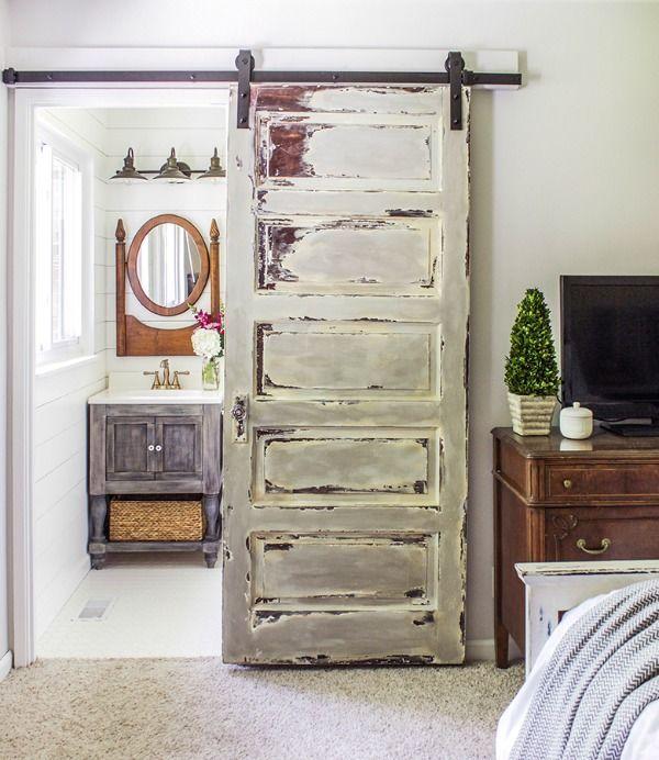 Shades of Blue Interiors, 20 Sliding Barn Door Ideas via A Blissful Nest