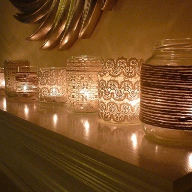 Mason jars + material + candles = cute lighting