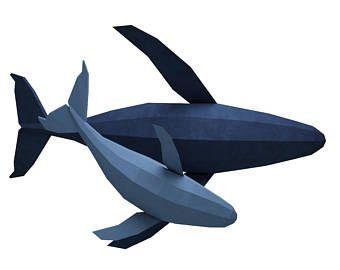 Papercraft Wal, 3D Familie der Wale-Papier-Modell, Papierskulptur, Papier Handwerk Tiere PDF, Fisch-Kit, Vorlage, Origami, Delphin, pepakura