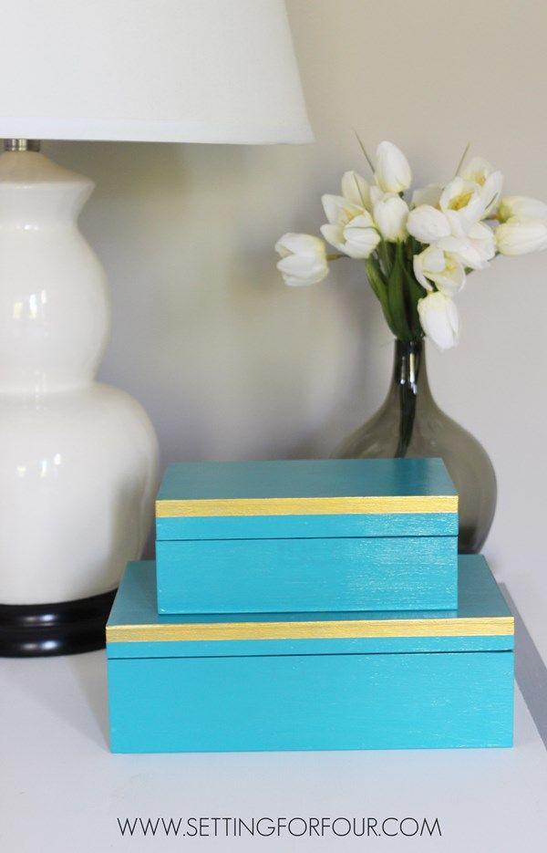 Easy to make stylish storage solution! DIY Gold and Aqua Box Set.