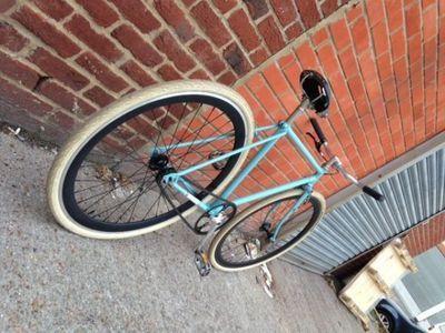 "CUSTOM BUILT VINTAGE SINGLE SPEED RALEIGH CAFE RACER BIKE BICYCLE 19"" FRAME   eBay"