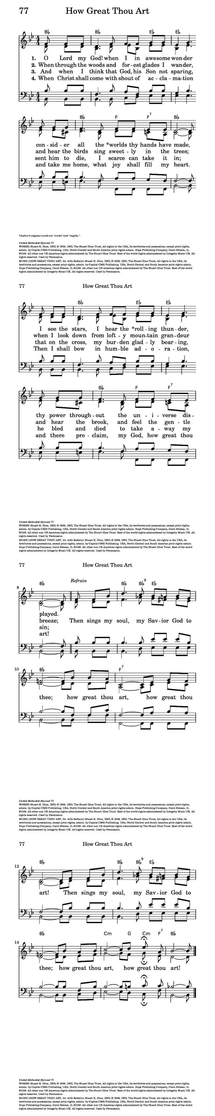 How great thou art greatful song lyrics hymn