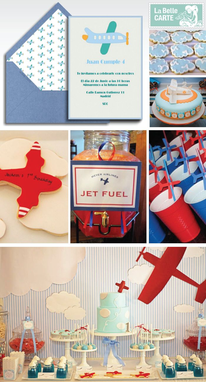 Airplane party ideas. Love this striped blue backdrop and huge red biplane.