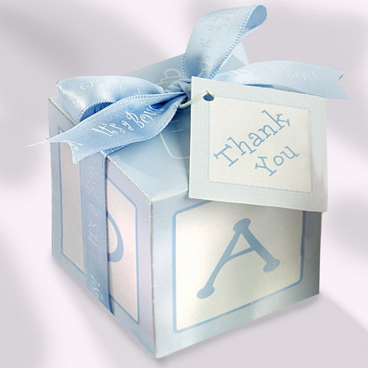 Favour boxes baby blue : Baby shower gift card box blue blocks favor boxes