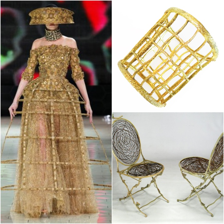 Sarah Burton for #AlexanderMcQueen has us inspired by gilded honeycombs and sculptural cages. #paris #fashionweek #gold: