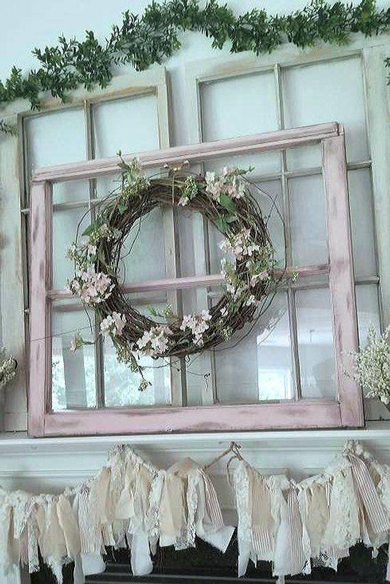 Vintage Window Frame Old Farmhouse Window Distressed Window Window Photo Frame Shabby Chic Window Pink Window Wedding Window Frame Window Photo Frame Vintage Windows Window Frame