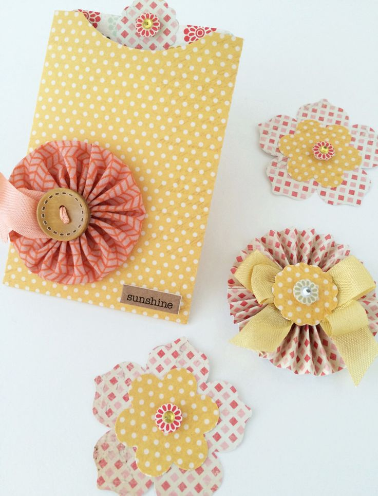 Card Making Embellishment Ideas Part - 40: Paper Embellishments For Scrapbook Page, Mini Album, Journal, And Card  Making - Handmade Yellow Paper Flowers - Sunshine - 8 Pieces