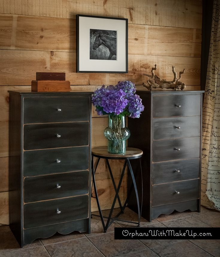 A set of twin dressers given an industrial look with Graphite Chalk Paint® decorative paint by Annie Sloan and Dark Soft Wax | By Orphans with Makeup