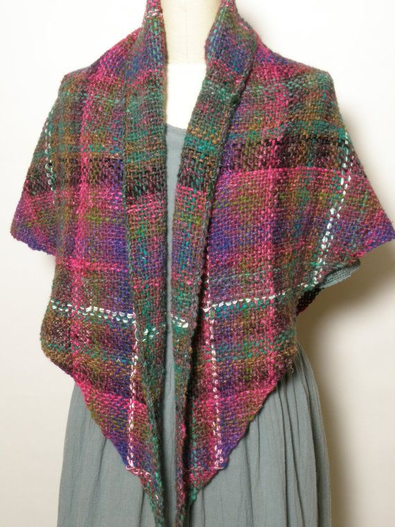 Shawl Handwoven Hand Made Shawl Triangular Shape by Shawltique #handweaversofetsy