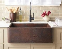 Farmhouse 30 Copper Kitchen Sink by Native Trails transitional-kitchen-sinks
