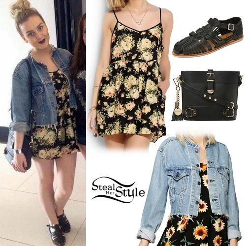 Perrie: black floral dress and jean jacket with accessories