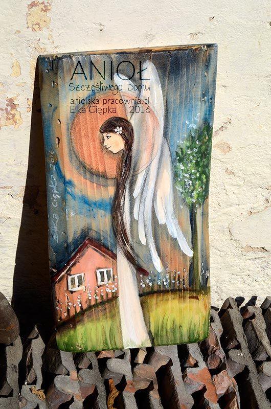 Anioł Szczęśliwego Domu - ręcznie malowany na drewnie