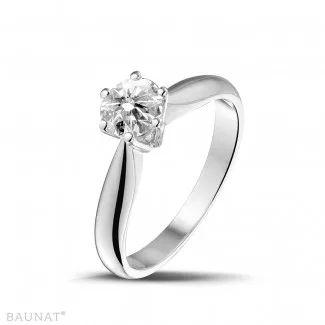 Witgouden Diamanten Ringen - 0.75 caraat diamanten solitaire ring in wit goud