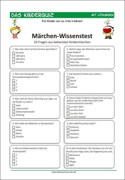 Märchen-Wissenstest für Kinder von 6-9 10 Fragen aus