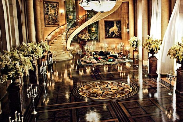 Grandiose #foyer set #design for the #GreatGatsby movie. Love the #stairs & #floors!