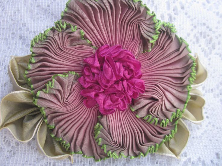 Vintage Style French Ombre Millinery Ribbon Flower Pin~Ribbon work~