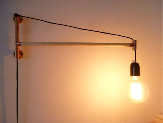 Sconce - Pivoting Wall Lamp - Industrial Style, Copper and Wood