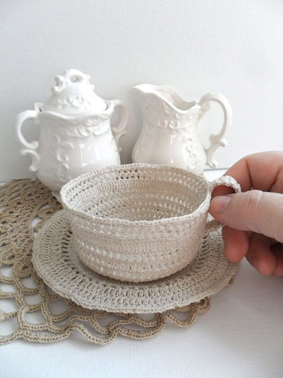 SALE Crochet Coffee Cup Neutral Taupe Crochet Sculpture Art Home Decor