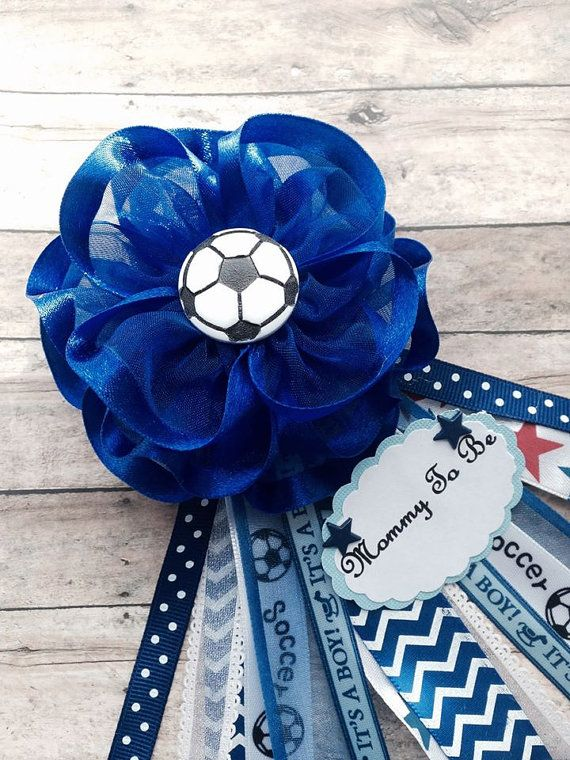 Soccer Theme Navy Blue Chevron Baby Shower by AlittleSweetBowtique