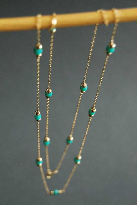 Hanini long necklace long gold turquiose by kealohajewelry