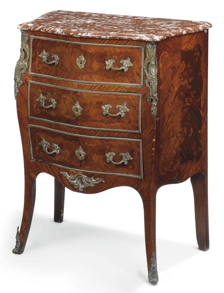 a french bois satine floral marquetry and gilt metal mounted petit commode of louis xv style. Black Bedroom Furniture Sets. Home Design Ideas
