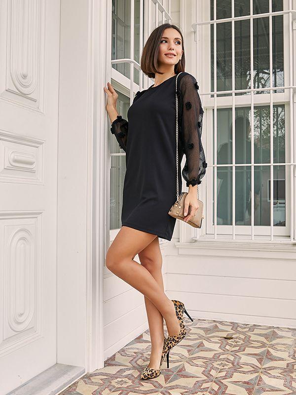 39k155 Kollari Tul Ponponlu Elbise Siyah 2020 Elbise Siyah Kadin