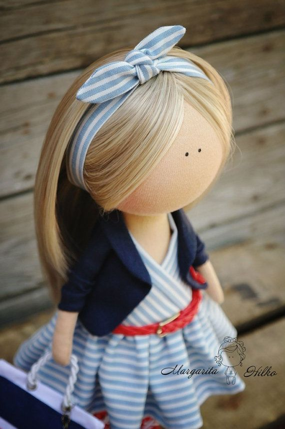 Decor doll red blue blonde Handmade Home doll por AnnKirillartPlace