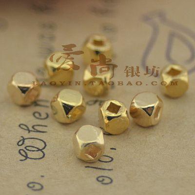 【镀18k金】925纯银配件八角珠散珠佛珠直径3mmdiy配件实体批发-淘宝网