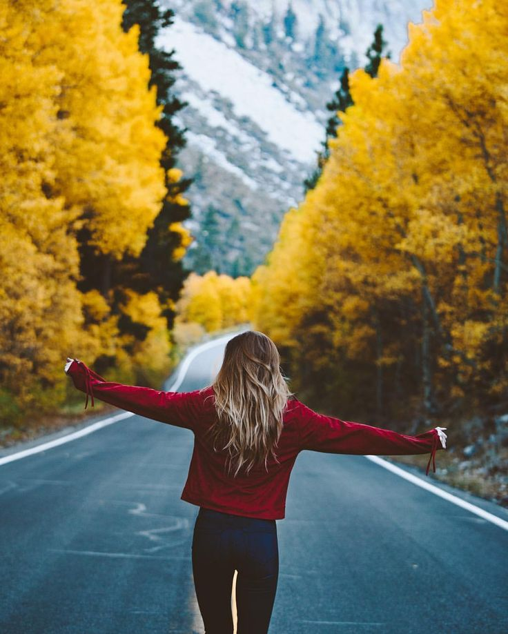 fall girl road lonely woods trees sweater weather cute photo photography ideas inspo inspiration instagram.         -one on each side of the road