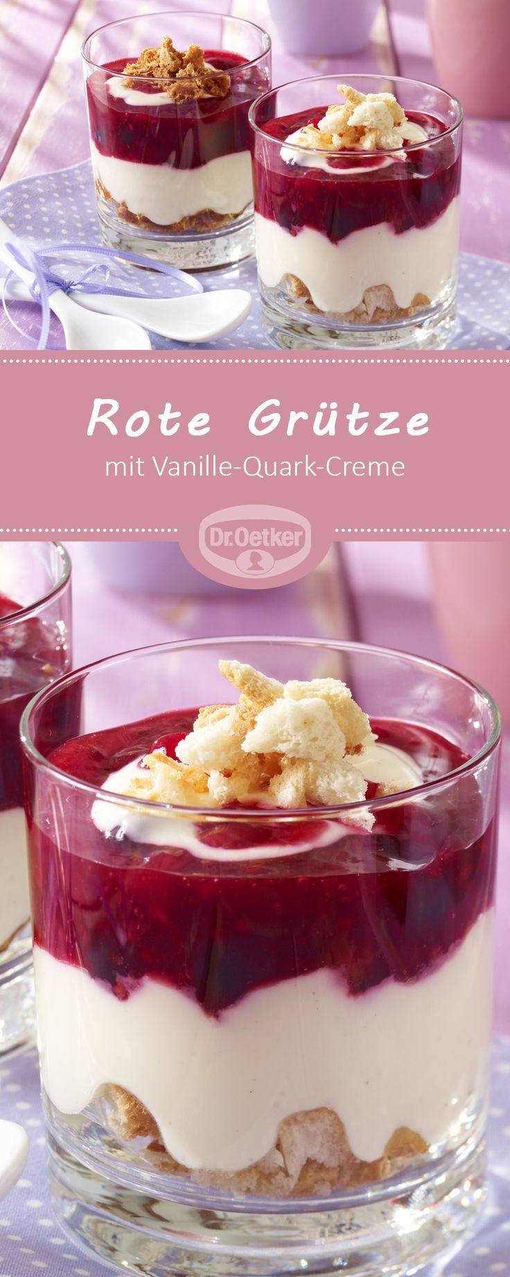 Rote Grütze mit Vanille-Quark-Creme: Der Klassiker Rote Grütze mit Vanillesoße wird zum cremigen Schichtdesssert mit Quark