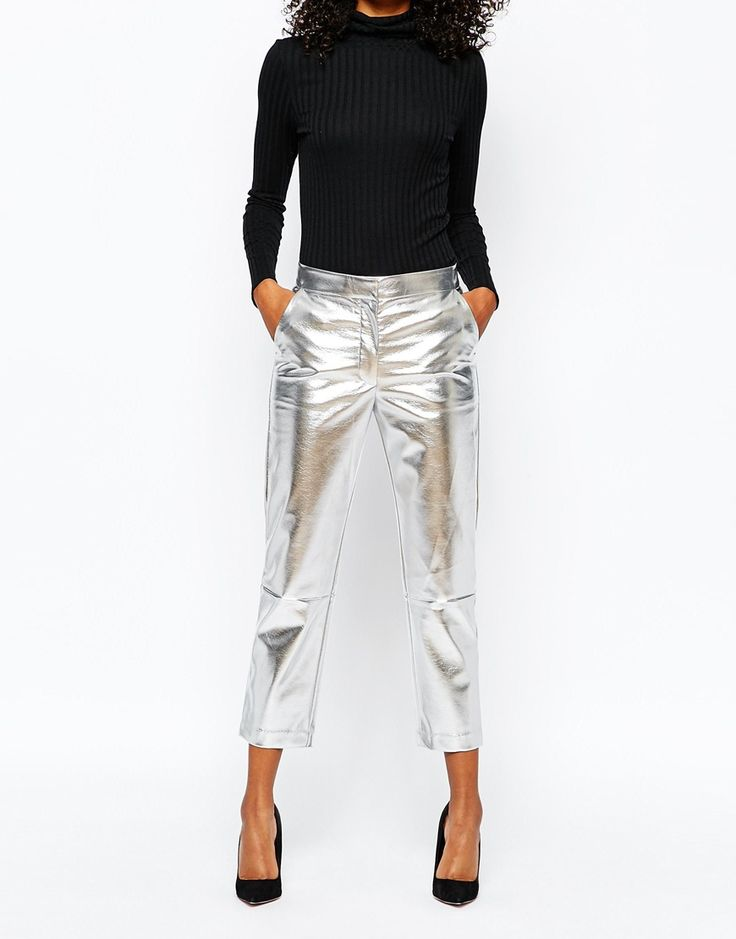 Image 4 ofMonki Metallic Leather Look Cropped Trouser