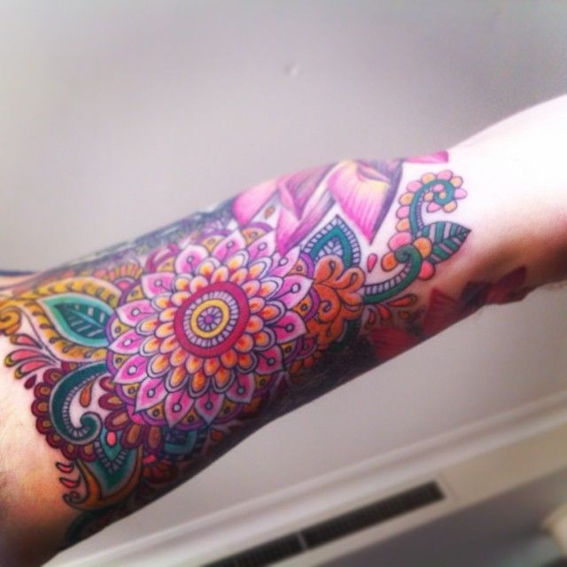 colorful mandala sleeve tattoo - Google Search