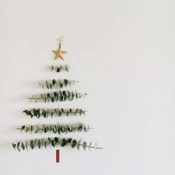 こんなユニークなアイデアも。ユーカリの枝がツリーに!これなら簡単、おしゃれにクリスマス気分が味わえますね。