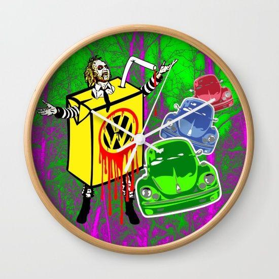 Beetle-Juice Wall clock , @society6 #movie #character #VW #vwbug #vwbeetle #beetle #cars #colours #beetlejuice #betelgeuse #horror #halloween #time #clocks #ticktock #minutes #seconds #hours #design #parody #popart #popartclock #society6wallclocks #society6