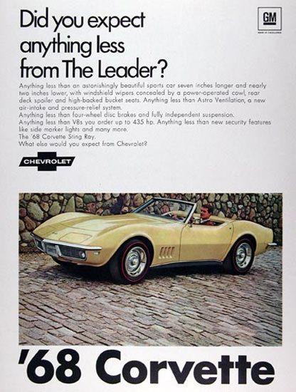 Chevrolet Corvette Conv 1968 Anything Less - www.MadMenArt.com   Vintage Cars…