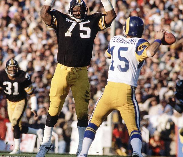 Mean Joe Greene looking to harass L.A. Rams QB Vince Ferragamo in Super Bowl XIV action at the Rose Bowl in Pasadena, California on January 20, 1980