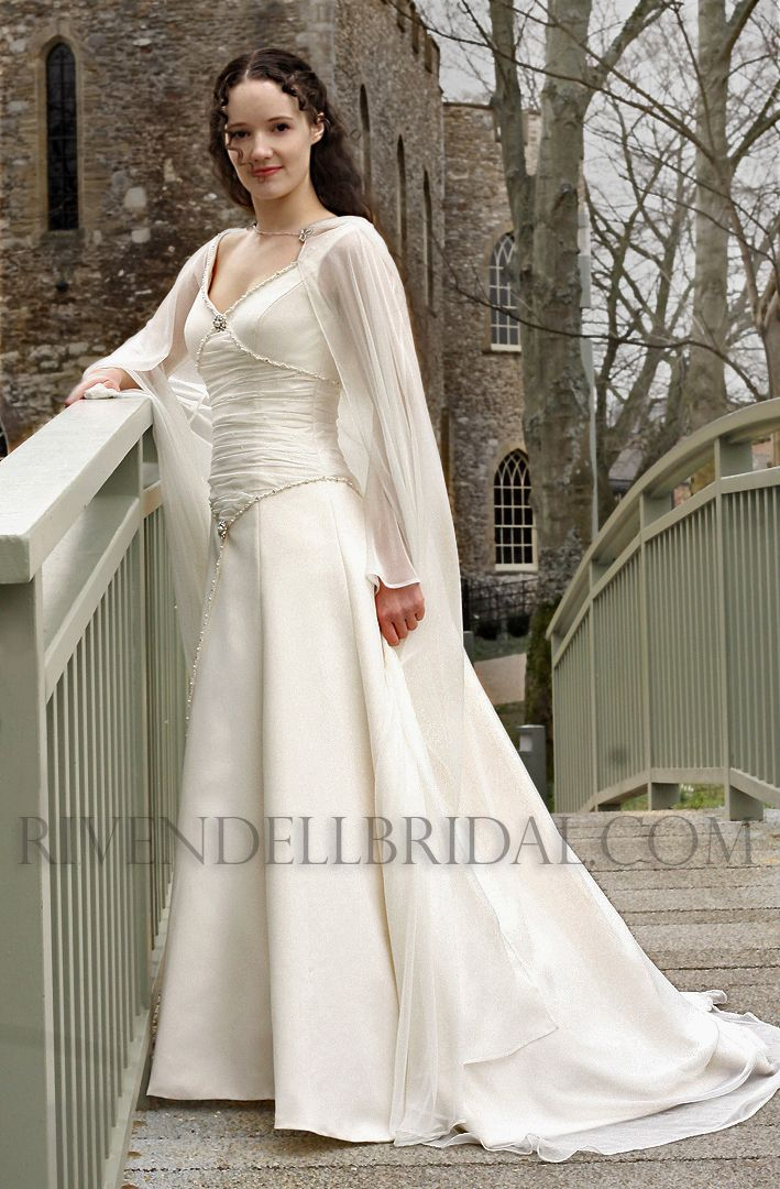 Style: Marian - A truly Romantic bridal gown which uses a flattering fusion of medieval style and modern bridal Elegance.