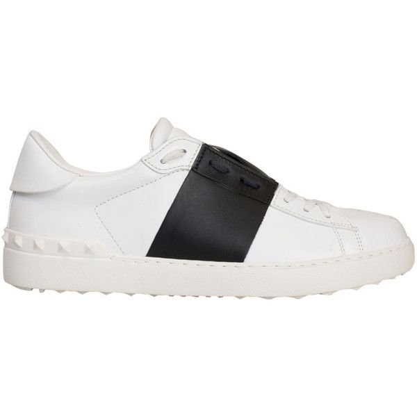 Valentino Garavani Black and white Open sneakers (€620) ❤ liked on Polyvore featuring shoes, sneakers, black, valentino sneakers, black trainers, white and black sneakers, leather shoes and valentino shoes