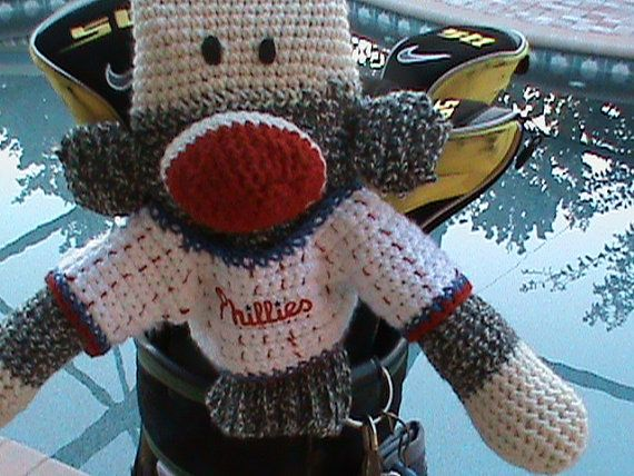 Sock Monkey Golf Club Cover Phillies or Your Team by pillowtalkswf, $40.00