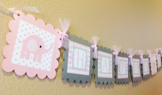 Pink Elephant Happy Birthday Banner  Pink by EmeraldCityPaperie, $26.00